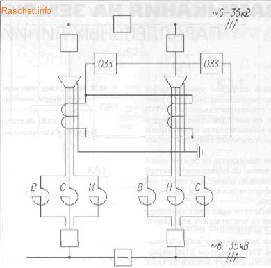 Представлена на Рис.2 - Схема подключения защиты от ОЗЗ параллельной линии с несимметричным сопротивлением фаз. В - верхний реактор, С - средний реактор, Н - нижний реактор