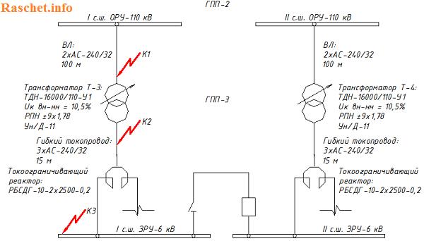 Рисунок 1 – Расчетная схема сети