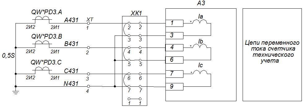Схема подключения трансформаторов тока к cчетчику СЭТ 4ТМ.03M