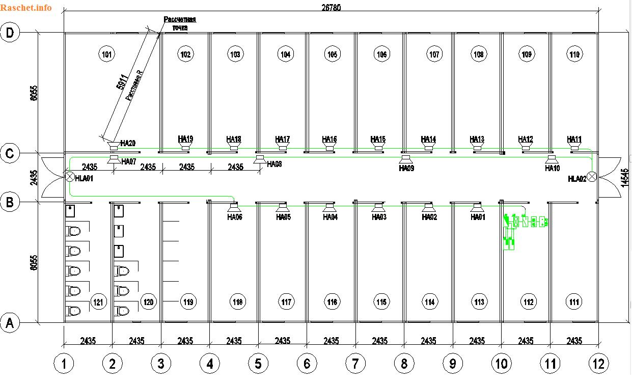 Рис.5 - План размещения оповещателей на отм. 0.000
