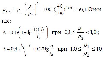 Формула по определению эквивалентного удельного сопротивления земли