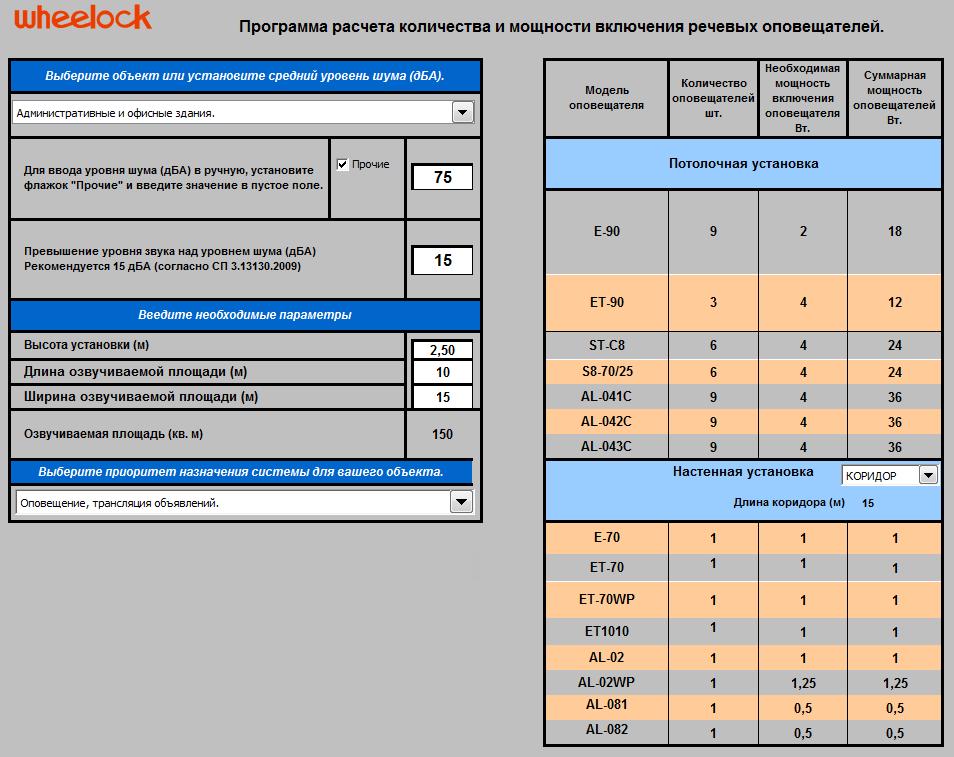 Программа расчета количества и мощности включения речевых оповещателей от фирмы Wheelock