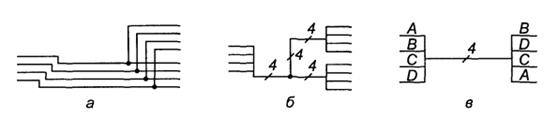 Способы изображения параллельных линии связи
