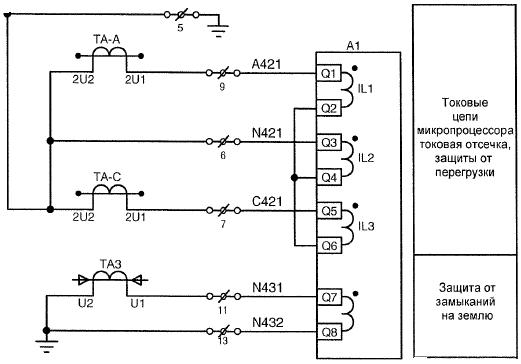 Рис.2 – Токовые цепи терминала защит 7SJ6226-5EB21-3HFO