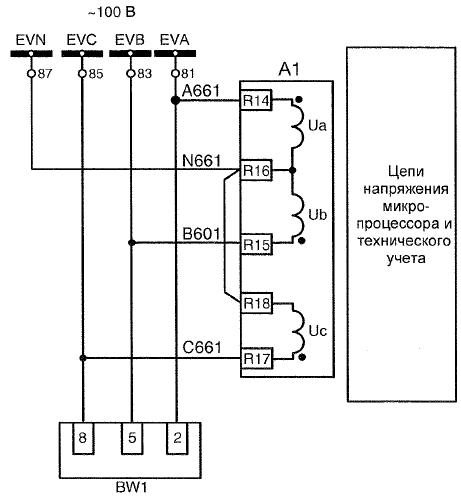 Рис.3 – Цепи напряжения терминала защит 7SJ6226-5EB21-3HFO