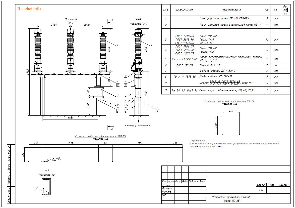 Установочный чертеж трансформаторов тока 110 кВ типа IMB-123 в формате DWG