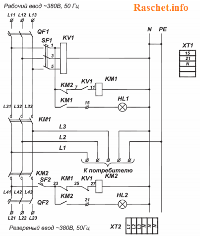 Схема АВР выполненная на контакторах