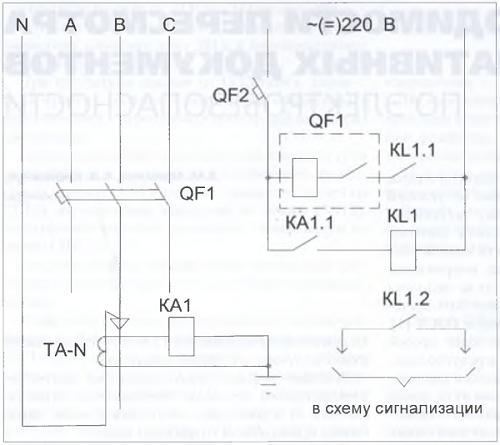 Рис. 2. Схема защиты от однофазных КЗ с воздействием на независимый расцепитель автоматического выключателя