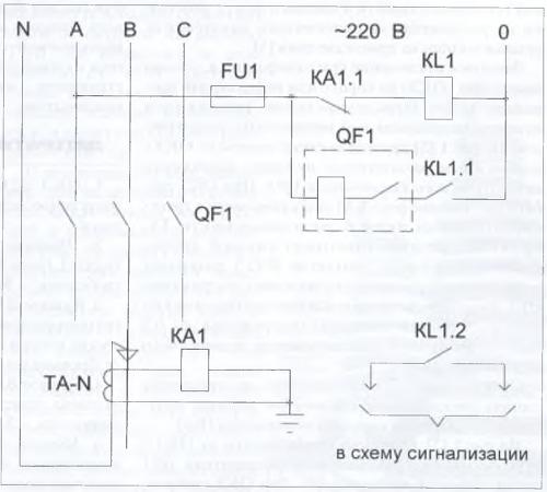 Рис. 1. Схема защиты от однофазных КЗ с воздействием на расцепитель нулевого напряжения автоматического выключателя