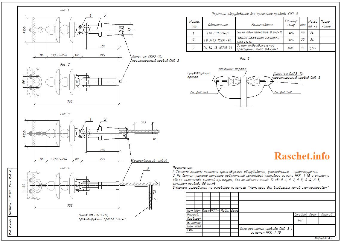 Узлы крепления провода СИП-3 с зажимом НКК-1-1Б