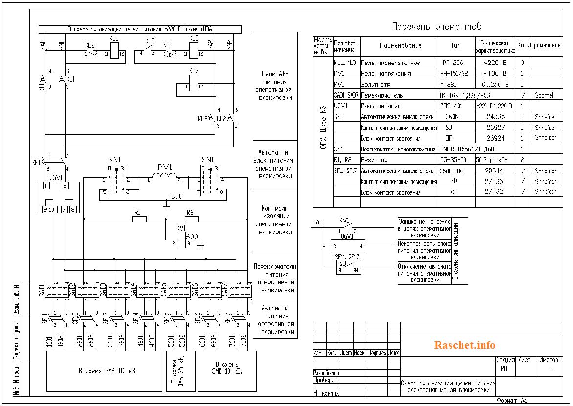 Схема питания оперативной блокировки разъединителей