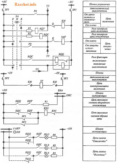 Схема управления и сигнализации выключателя с ключом управления без фиксации
