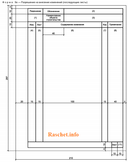 Форма 9a ГОСТ Р 21.1101-2013