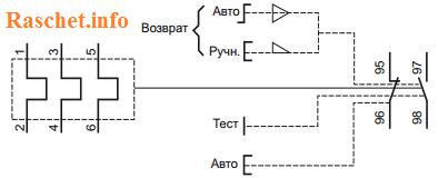 Схема подключения теплового реле типа LRE01…Е35