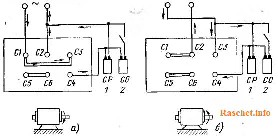 Рис.2 – Схема соединения выводов на щитке двигателя при подключении конденсаторов к двум фазам трехфазного двигателя