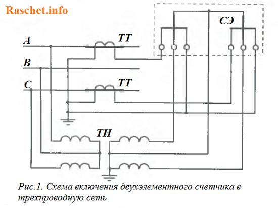Рис. 1. Схема включения двухэлементного счетчика в трехпроводную сеть