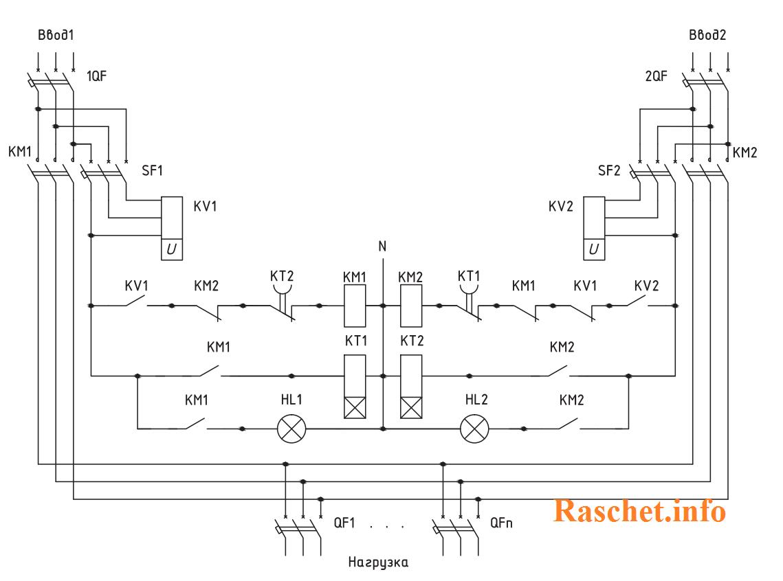 Схема АВР на 2 ввода