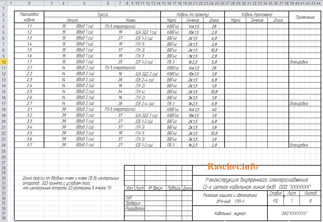 Образец кабельного журнала в Excel лист 1