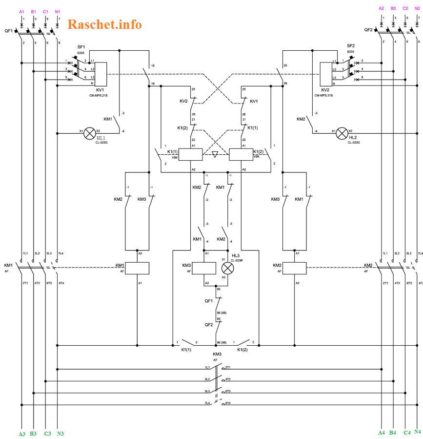 Рис.2 –Схема АВР с секционным контактором