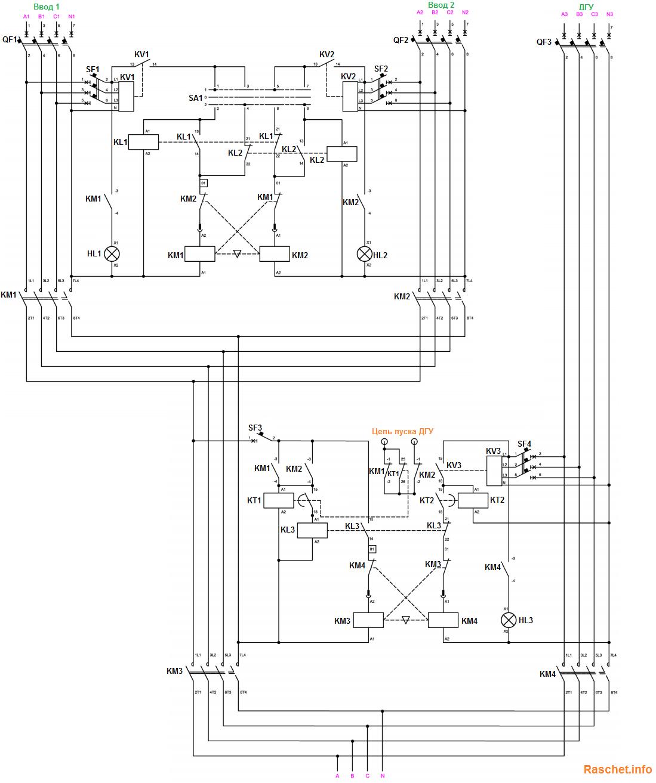 Рис.2 – Схема электрическая принципиальная АВР с ДГУ на контакторах