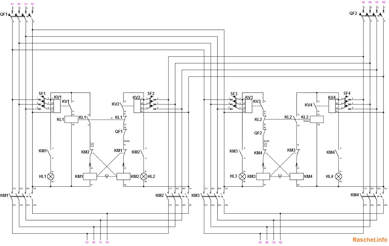 Схема электрическая принципиальная АВР «Крест» на контакторах