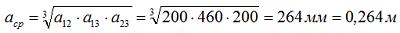 Определяем среднегеометрическое расстояние шин при горизонтальном расположении