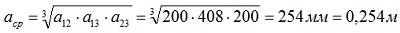 Определяем среднегеометрическое расстояние шин при вертикальном расположении