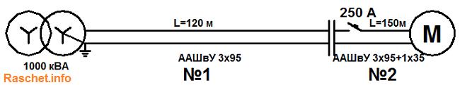 Рис.1 - Расчетная схема сети эл. двигателя