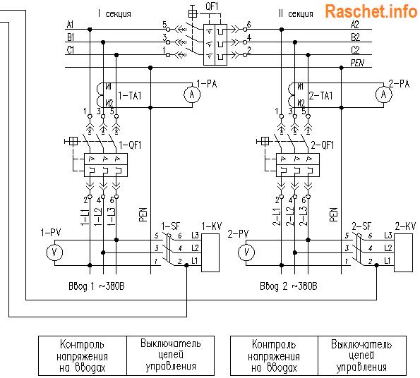 Поясняющая схема АВР на 2 ввода с секционным выключателем