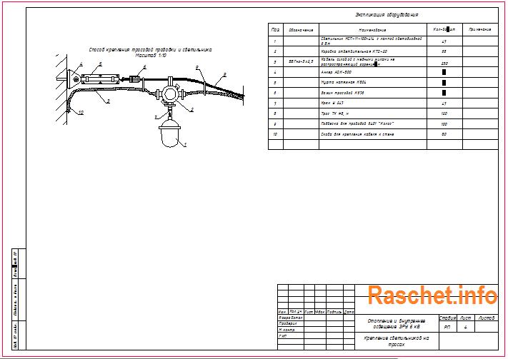 Крепление светильников на тросе в формате dwg