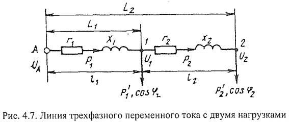 Рис.4.7 - Линия трехфазного переменного тока с двумя нагрузками