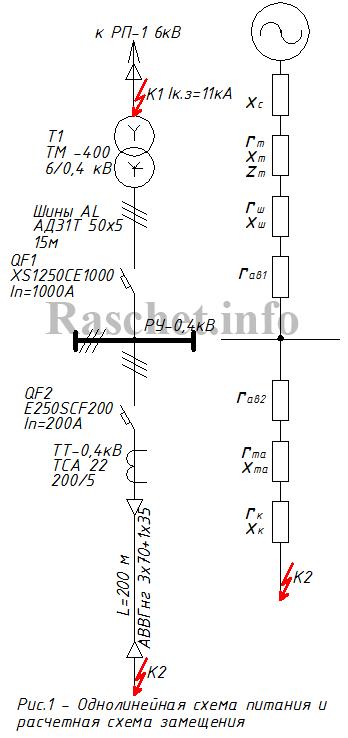 Рис.1 - Однолинейная схема питания и расчетная схема замещения