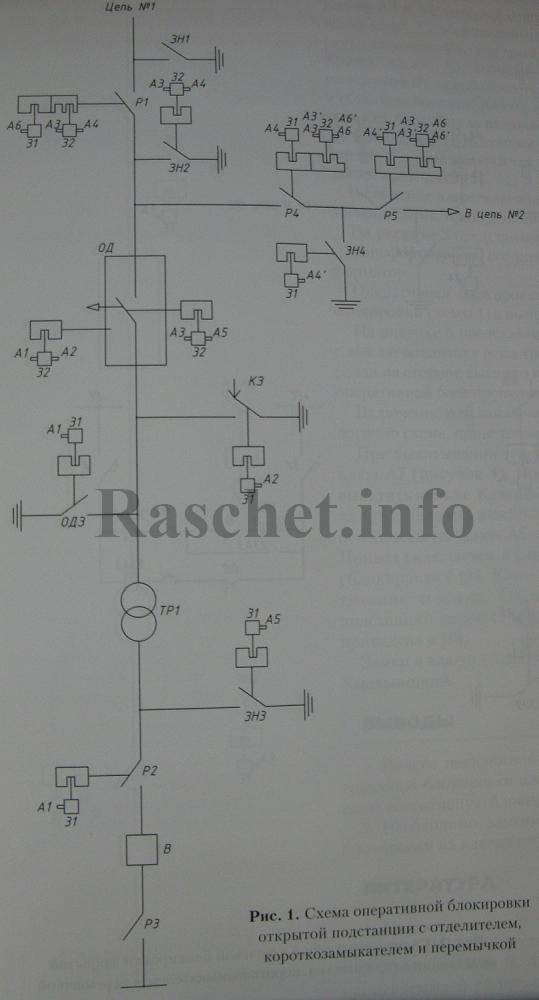 Рис.1 - Схема оперативной блокировки открытой подстанции с отделителем, короткозамыкателем и перемычкой