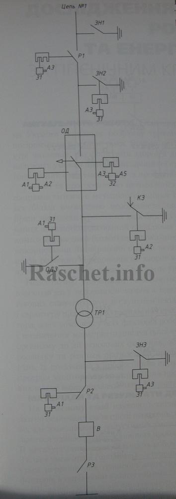 Рис.3 - Схема оперативной ключевой блокировки с отделителем и короткозамыкателем блока линия-трансформатор