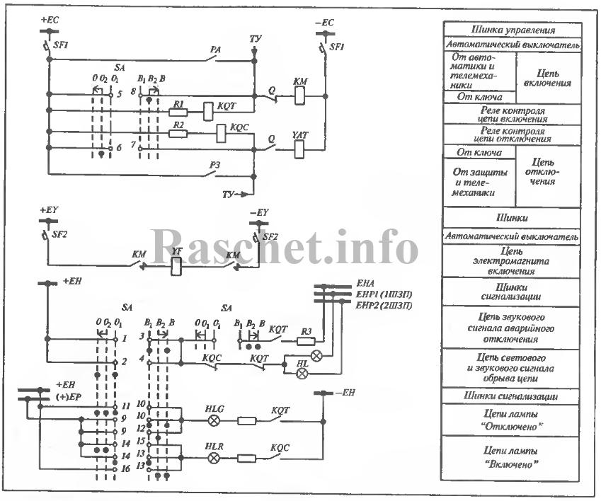 Схема со звуковым контролем цепей управления выключателя 6(10) кВ