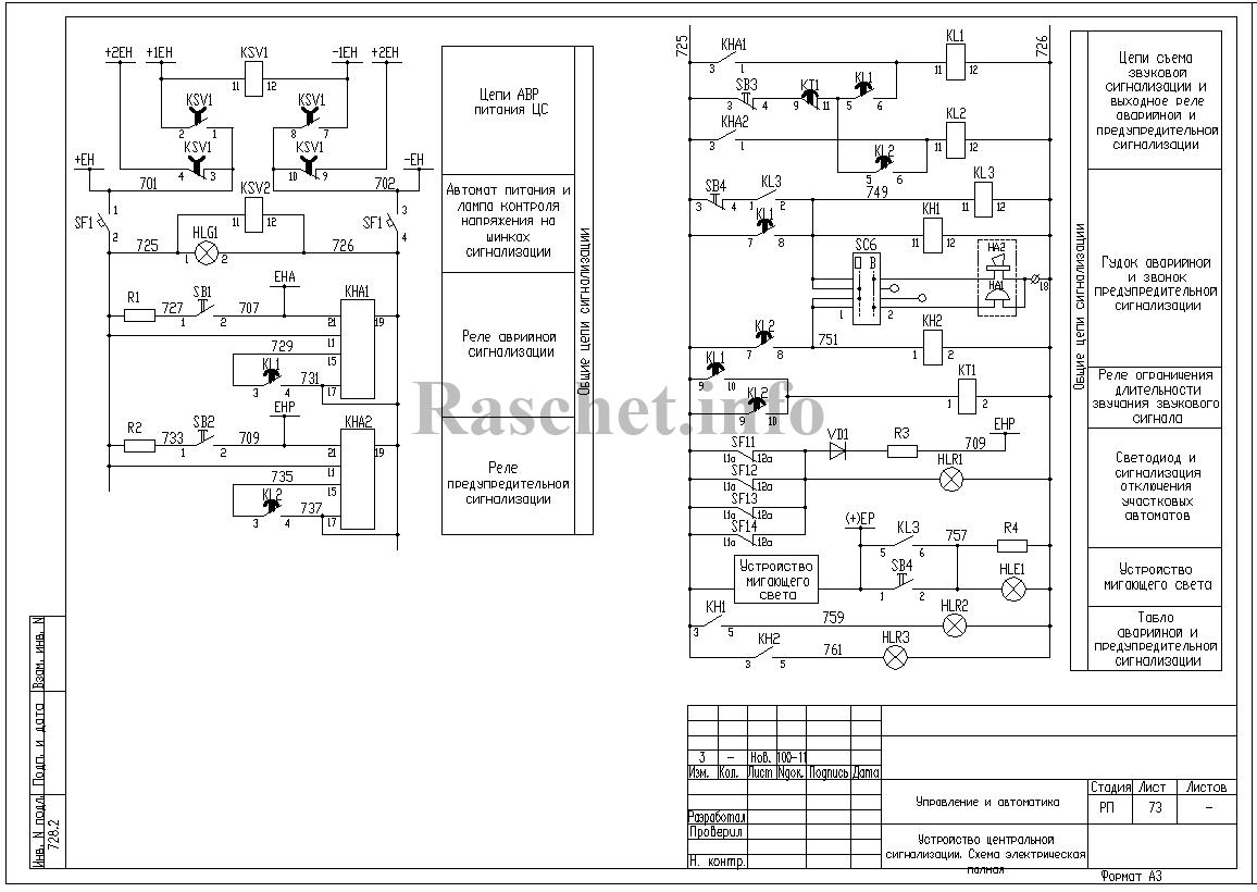 Схема аварийной и предупредительной сигнализации подстанции 110/35/10 кВ