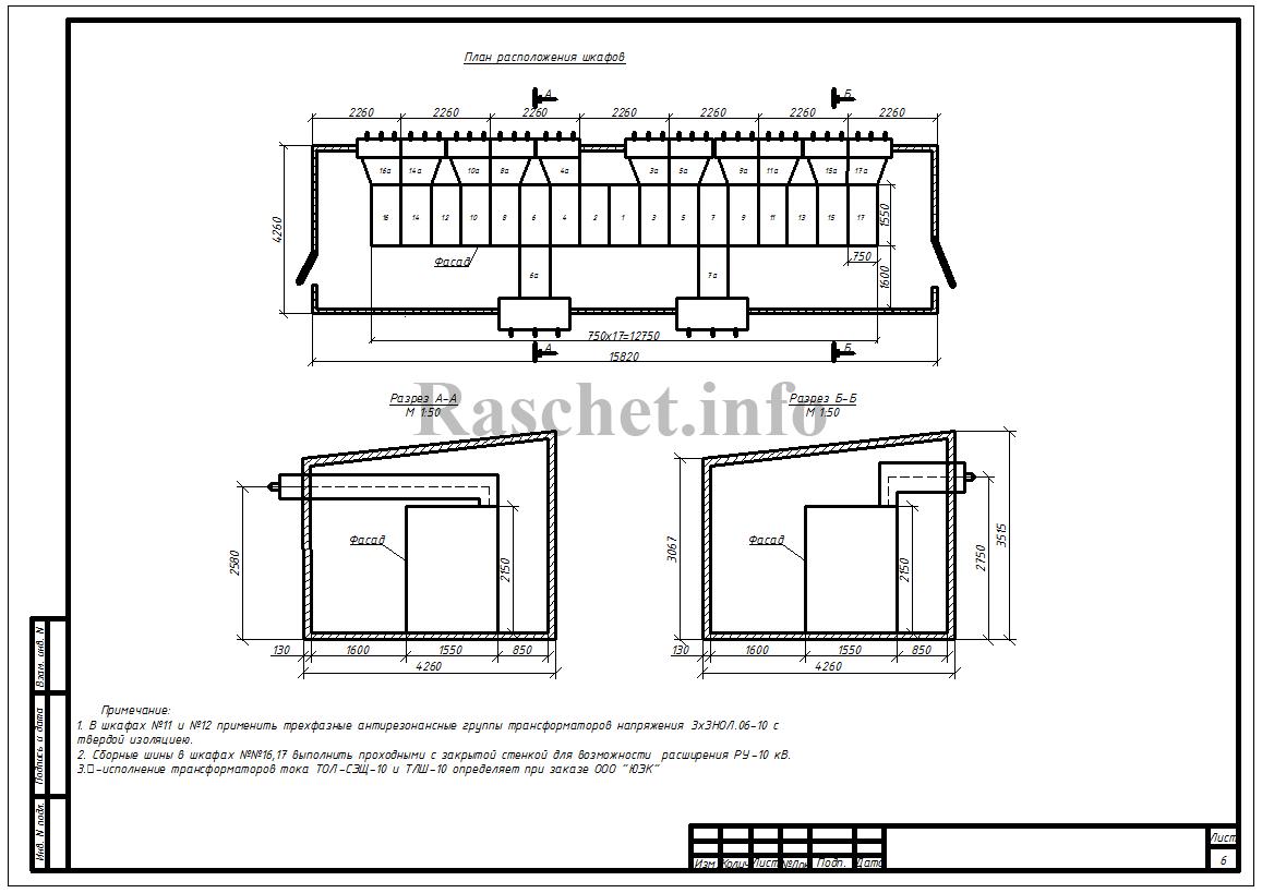 План расположения шкафов КРУ типа КМ-1Ф