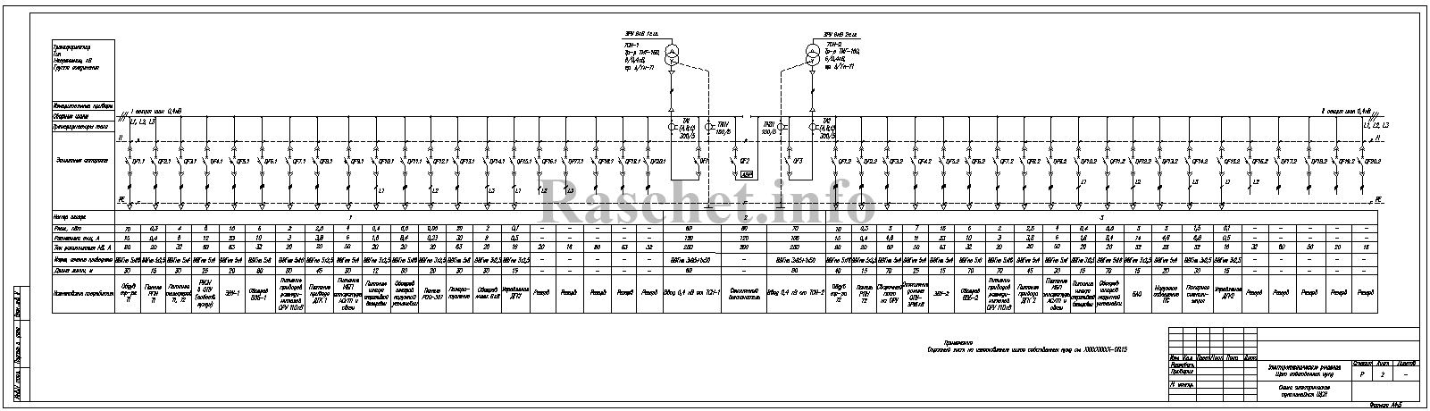 Схема щита собственных нужд подстанции в формате dwg