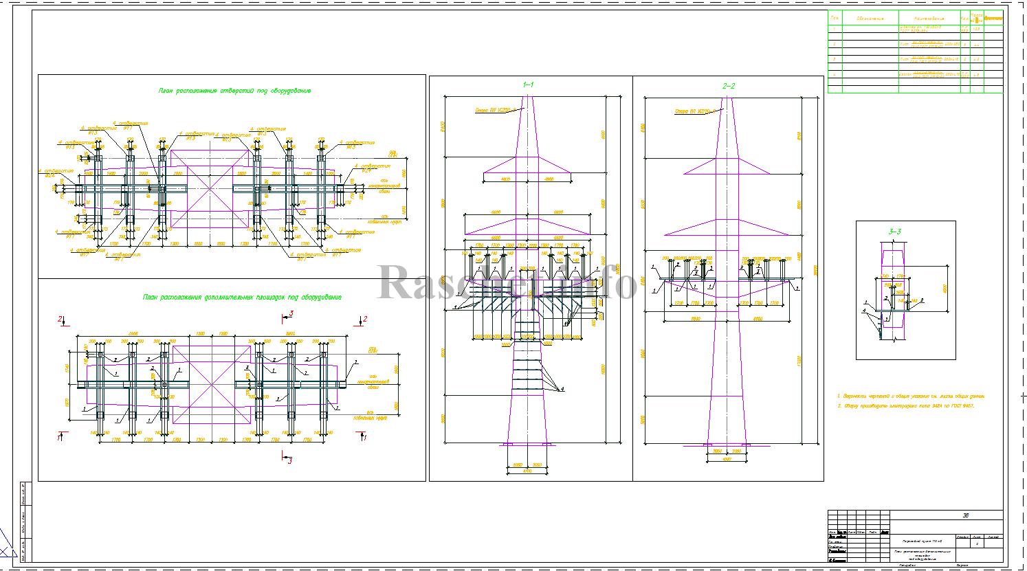 Чертеж установки переходного пункта 110 кВ в формате dwg