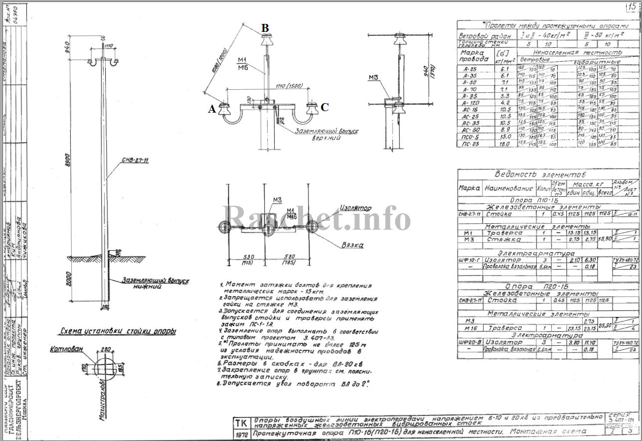 Габаритный чертеж опоры П10-16