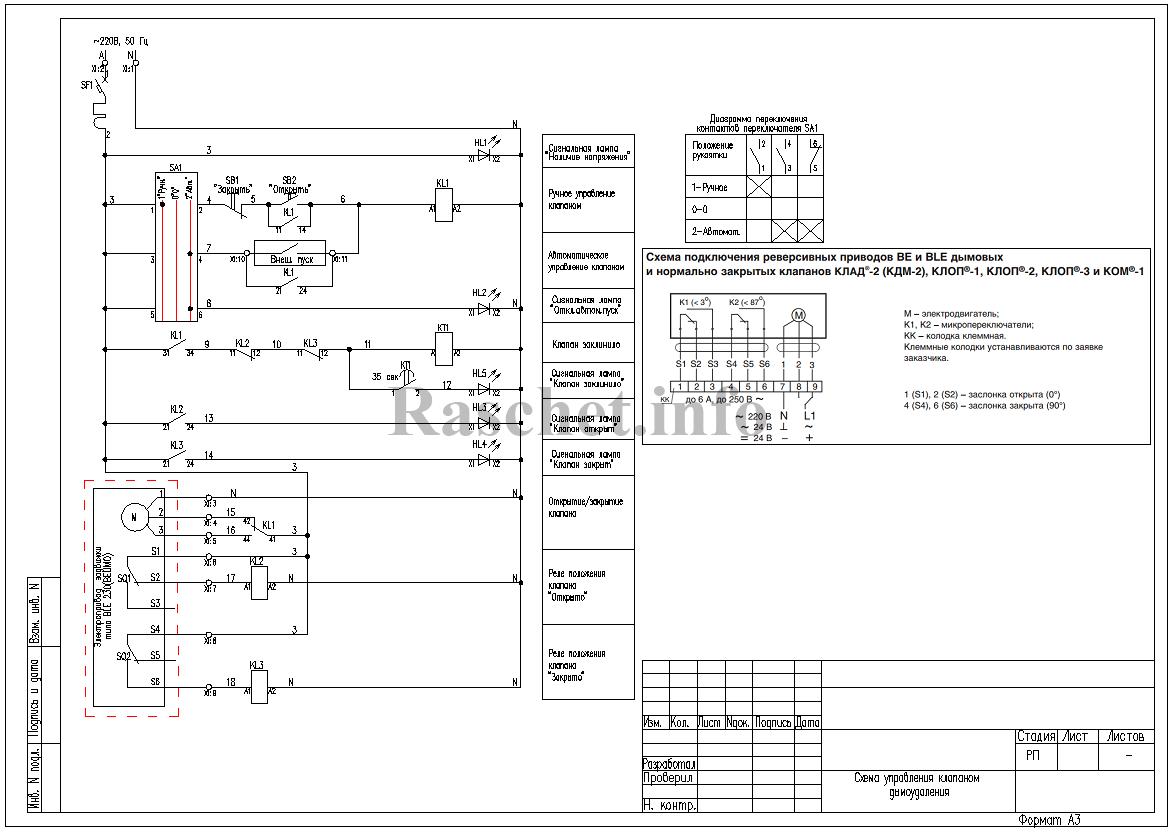 Cхема управления клапаном дымоудаления