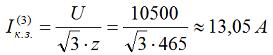 1. Определяем ток к.з. при генераторном напряжении 10,5 кВ