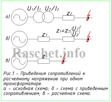 Рис.1 - Приведения сопротивлений к расчетному напряжению при одном трансформаторе