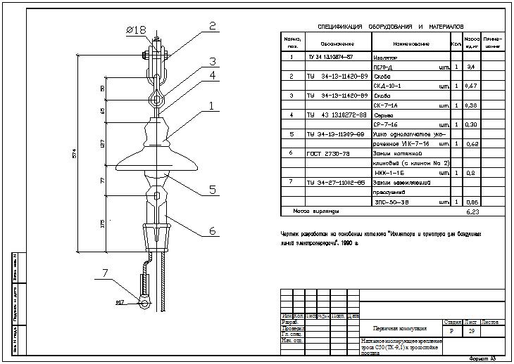 Натяжное изолирующее крепление троса С50 (ТК-9,1) к тросостойке портала