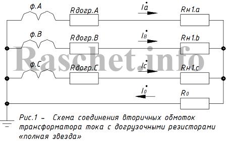 Рис 1 - Схема соединения вторичных обмоток ТТ с догрузочными резисторами полная звезда
