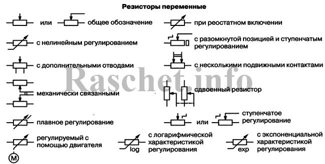 Условное обозначение резисторов переменных