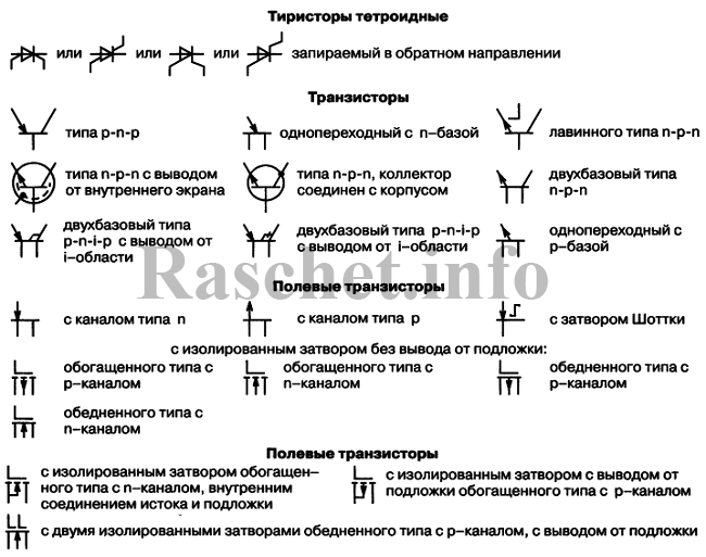 Условное обозначение транзисторов, тиристоров