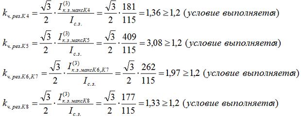 3.4.2. Определяем коэффициенты чувствительности при двухфазном КЗ в зоне резервирования