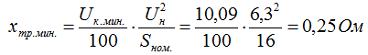 7. Определяется сопротивление трансформатора ТДН-16000/110-У1, исходя из напряжения короткого замыкания Uк.мин.
