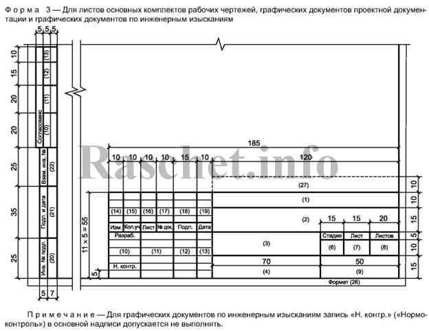 Штамп по форме 3 Приложение Ж ГОСТ Р 21.1101